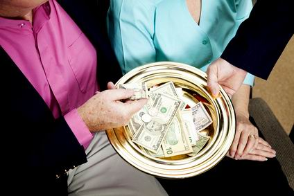 Church receives donations by passing the collection plate.