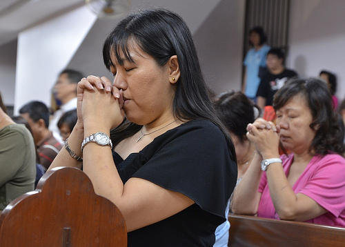 In deep prayer