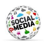 3D Social media sphere isoldated on white background.