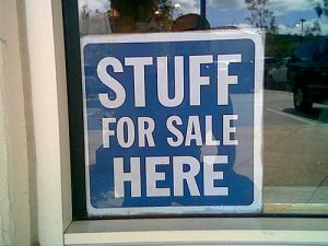 Stuff for Sale sign
