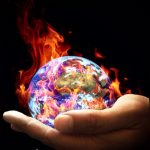 flaming earth in hand