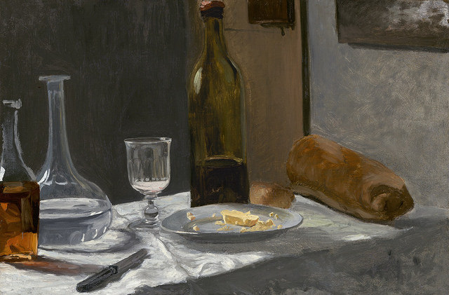 Claude Monet still life with bread and wine